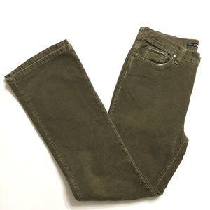 DKNY Women's Sz 10 Green Corduroy Pants Mid Rise